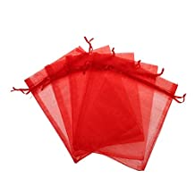 """KUPOO Lot of 50 4"""" x 6""""Drawstring Organza Pouch Strong Wedding Favor Gift Candy Bag (red)"""