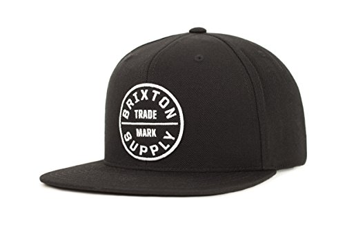 Brixton Men's Oath III Medium Profile Adjustable Snapback Hat, black, One Size - Skate Cap Hat