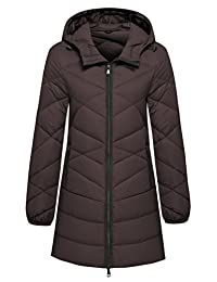 Wantdo Women's Hooded Packable Ultra Light Weight Mid-Length Down Jacket