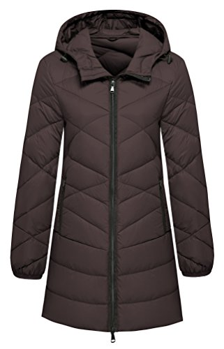 Wantdo Women's Hooded Packable Insulated Lengthed Down Jacket Coffee Medium