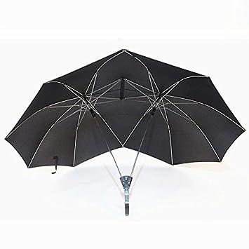 two-people moderno novedad par dualbrella/paraguas recto paraguas resistente al viento, negro