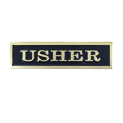 USHER Die Struck Soft Epoxy Black Enamel Brass Plate Lapel Pin - Package of 12, Polybagged (Usher Pins)