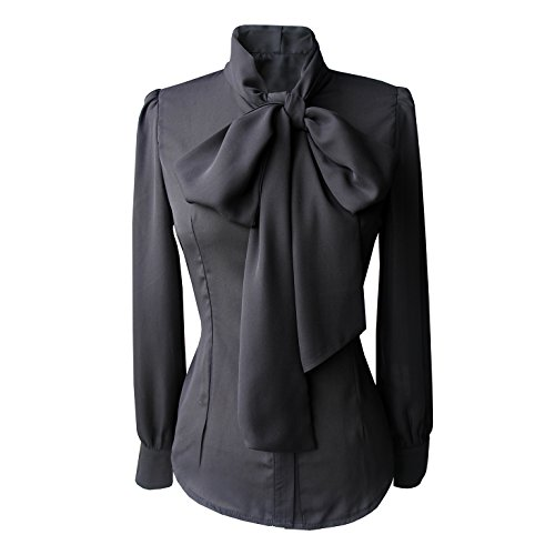 Chiffon Blouse Womens Tie bow Sheer product image