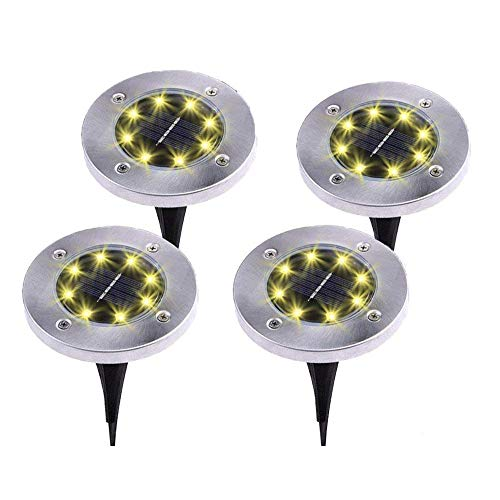 (Kalolary Solar Ground Lights, Upgraded 8 LED Garden Outdoor Lights, Stainless Steel Waterproof in-Ground Lights for Walkway Patio Yard Lawn Driveway Flowerbed Courtyard (4 Packs - Warm White))