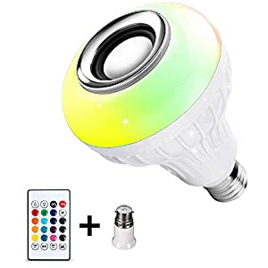 Lovelyhome LED Wireless Light Bulb Speaker, RGB Smart Music Bulb, E27 Base Color Changing with Remote Control for Party, Home, Halloween Christmas Decorations