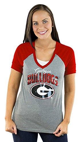 NCAA Georgia Bulldogs Women's Short Sleeve V Neck Raglan ...