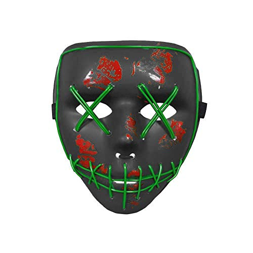 Halloween Scary LED Light up Purge Mask Costume Wire Thanksgiving Day Festival Cosplay Masquerade Party Women Men (Green) for $<!--$10.99-->