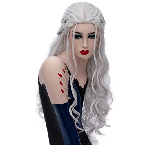 COSPLAZA Silver Royal Princess Style Cosplay Wigs Synthetic Curly Wave Wigs Character Play Hair ()
