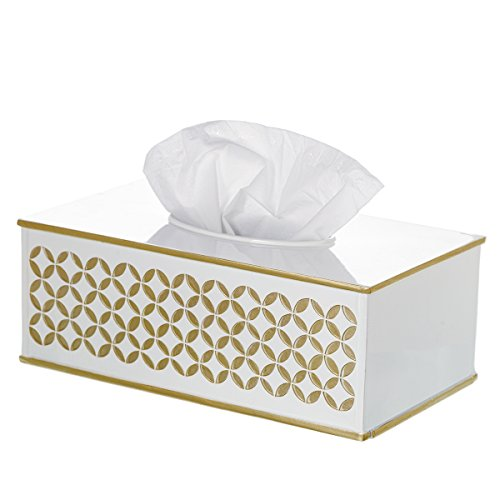 Diamond Lattice Tissue Box Cover Rectangular, Decorative Bath Tissues Paper Napkin Holder- Resin Rectangle Napkins Container- Bottom Slider- For Elegant Bathroom Decor - Ocean Wicker End Table
