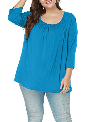 Allegrace Women's Autumn Square Collar 3/4 Sleeve Ruched Blouses Loose Tee Top Lake Blue (Ruched Shirt Top)