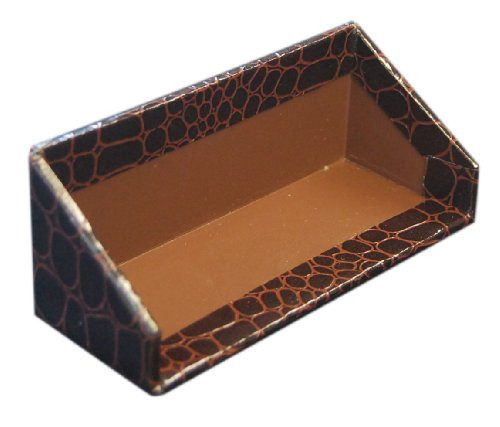 Aurora Products File (Aurora Products Business Card Holder, 4.13 x 1.75 x 1.75 Inches, Brown Croc/Tudor Brown (09322-6))