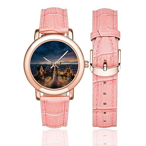 Paris Decor Rose Gold Leather Strap Watch,Paris Street View Avenue Boulevard Panoramic Dramatic Night Sky Downtown for Woman,Case Diameter:1.4