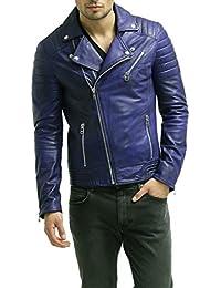 Men's Lambskin Leather Bomber Biker Jacket