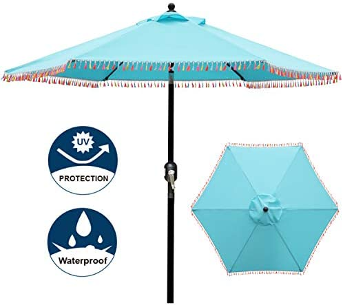 Blissun 7.5 ft Patio Umbrella with Fringe, Yard Umbrella Push Button Tilt Crank