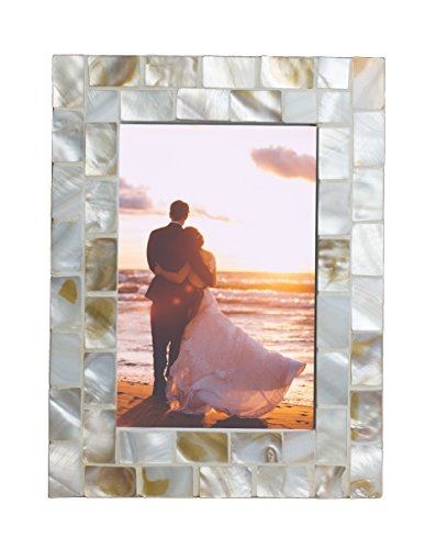 GIFTME 5 Photo Frame 4x6 Mother of Pearl White Photo Frame 4 by 6 Wedding Beach Picture Frame Tabletop or Wall Hanging Display(4x6, White)