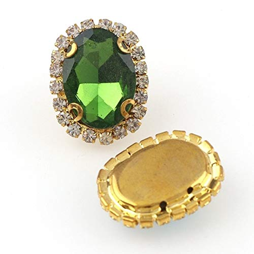 Shoppy Star Oval Gold Sew On with Colorful Glass Stone Claw Crystal Buckle Cabochon Base Cameo Setting DIY Jewelry Clothes Charm: Grass Green, 18x25mm 3Pcs