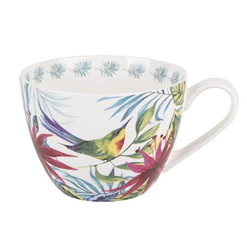 Portobello Wilmslow Tropical Floral Bone China Mugs Tea Cups, Set of 2