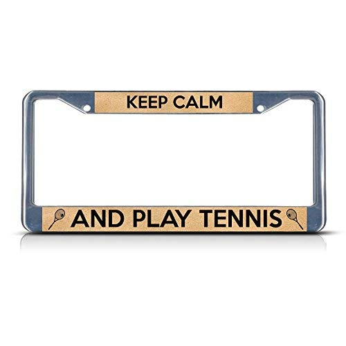 Keep Calm and Play Tennis Car License Plate Cover Framed Tag Cover Durable Aluminum License Plate Frame for Women