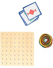 Nail Board Toy, Wooden Geoboard Space Graphical Educational Toys Imagination Development Toys Early Learning Teaching Aids Educational Toys(Nail Board)