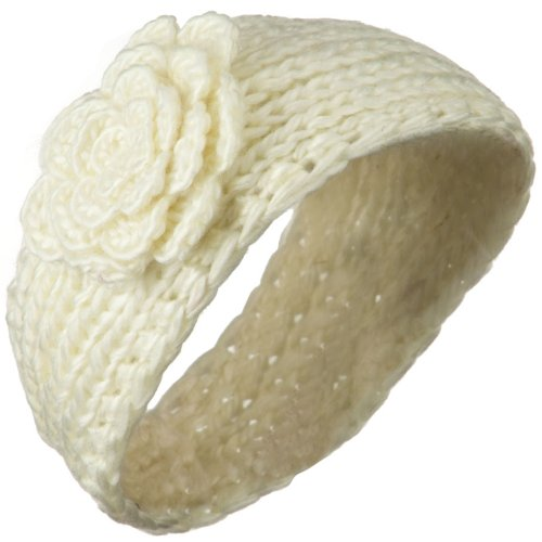 Large Rose Accent Woman's Head Band - Cream OSFM