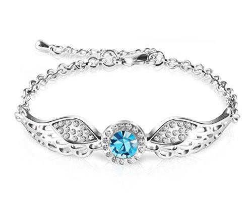 """کوئینز """"جواهرات طراحی شده دستبند کریستال آنجل بال Wings Swarovski کریستال ، 7"""""""