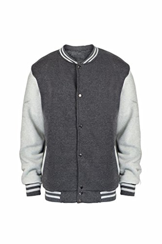 Men's Sherpa Lined Fleece Varsity Baseball Bomber Jacket Dark Grey XL - Denim Varsity Jacket