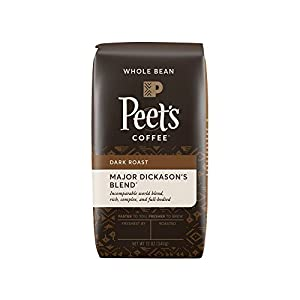 Peet's Coffee, Major Dickason's Blend, Dark Roast, Whole Bean Coffee, 12 oz. Bag, Rich, Smooth, and Complex Dark Roast Coffee Blend, with a Full Bodied and Layered Flavor