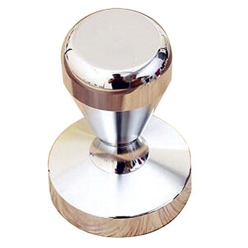 Black Temptation Acier inoxydable Espresso Hand Tamper Flat Base 58mm [Argent]