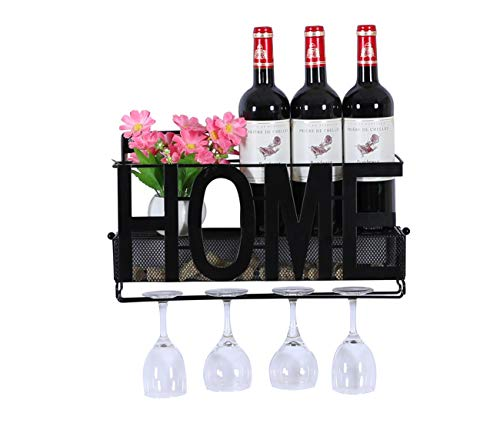 EPG-Life Metal Wine Rack Wall Mounted with Wine Cork Holder and Glass Holder, Black
