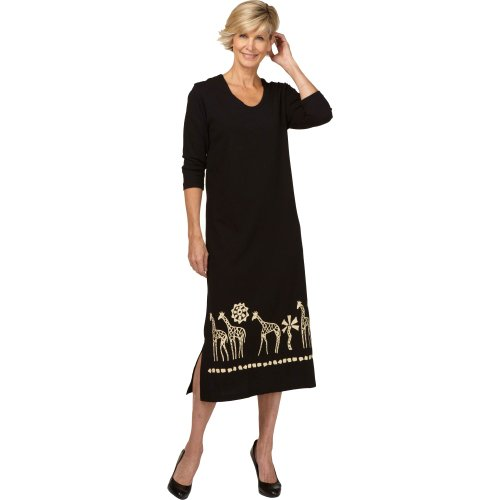 M.Mac's Long Neck Friends Border Dress Black with Tan Print-Large