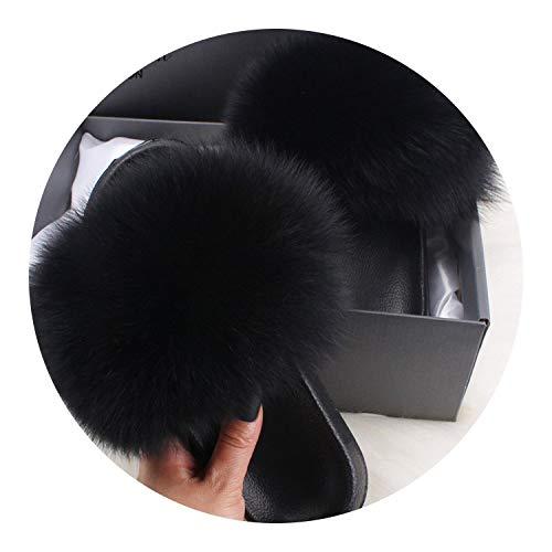 Plush Fox Fur Slippers Slides Lady Summer Flip Flops Cute Fluffy Raccoon Fur Sandals Shoes,Black,11 ()