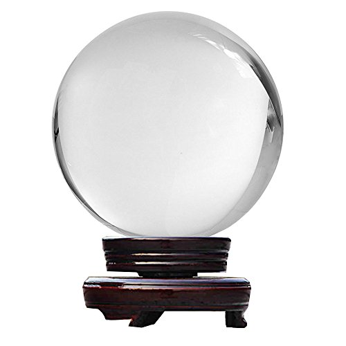 Mydio 80MM Clear Crystal Ball, Meditation Sphere Ball,Divination or Interpretation Sefirot Crystal Ball,Free Wooden Stand -