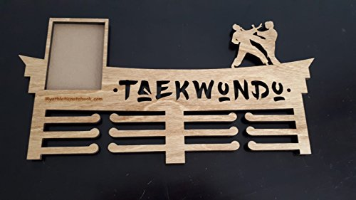 Taekwondo Personalized Wooden Medal Holder, Hanger - Customize it with Your Photo or Lucky Number for Athletes - Displays Up to 24 Medals or Ribbons - Martial Artists (Taekwondo)