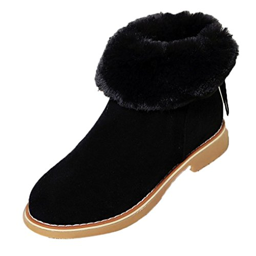 LuckyBB Fashion Women Winter Boots Warm Plush Snow Boots Zips Ankle Shoes Black