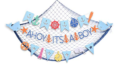 Ahoy It's a Boy Baby shower Nautical Decorations for Boy | Nautical Its A Boy Nautical Theme Baby Shower for Baby Boy Party Decorations| Shaped Banners for Baby Shower | Nautical Themed Garland Party ()