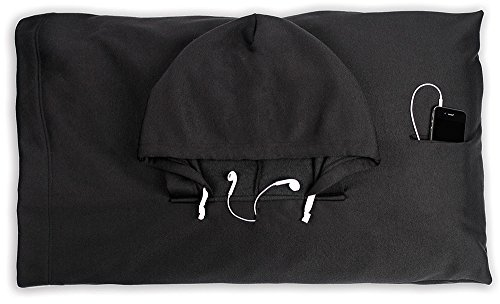 - HoodiePillow Hooded Pillowcase - Black