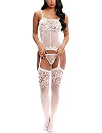 Lingerie Bodystocking Stretch Sling Crotchless Elastic Tights With Sexy Floral and Fishnet No Crotch For Women