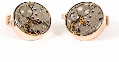 Rose Gold Watch Movement Cufflinks Working Steampunk Gear Wedding Cuff Links For Groom With Gift Box (Cufflinks Clock Gear)