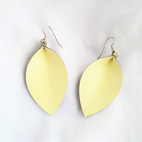 Leather Leaf Earrings/Lemon Sorbet/Genuine Leather Earrings/Handmade/Joanna Gaines Style/Statement Earrings/Pinched Leaf/Yellow Earrings/Medium / 2.5