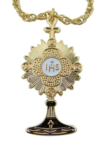 Minister Bishop Gift 1 3/4 Inch Gold Tone over Pewter Monstrance Latin Cross Pectoral Pendant with 24 Inch Chain Necklace (Pendants Pewter Over)