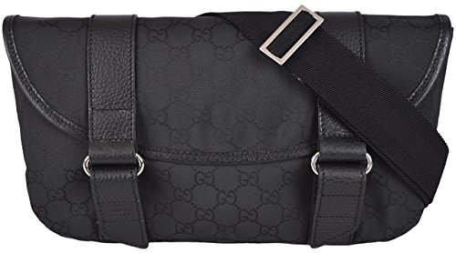 Gucci Men's GG Guccissima Black Nylon Waist Sling Bag