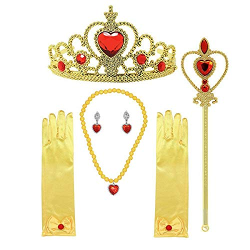 Jashem Belle Princess Crown Wand Necklaces Gloves Tiara Set Birthday Gift Christmas Presents for Girls