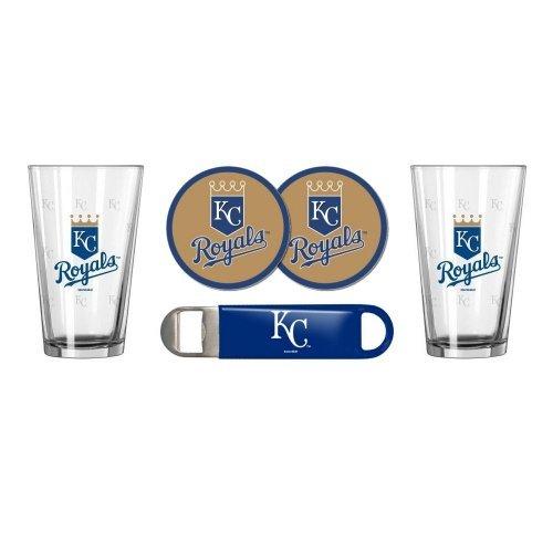 Royals Coaster Set (MLB Baseball SE Pint Glasses, Coasters & Bottle Opener Gift Set - Pint Glasses (2), Vinyl Coasters (2) & Stainless Steel Opener (1) (Royals))