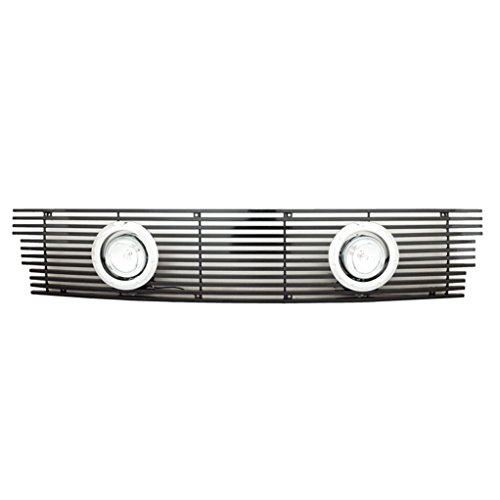 Ford F-150 Vertical Grille (E-Autogrilles Aluminum Black 8mm Horizontal Billet Grille Insert with Chrome Rings & Lamps for 97-98 Ford F-150 2WD (1PC)(38-3134))