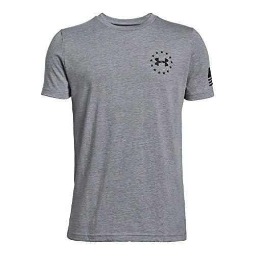 Under Armour Boys' Freedom Flag T-Shirt, Steel Light Heather (035)/Black, Youth X-Large
