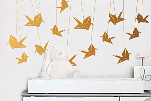 """Surface Collective ORIGAMI CRANES 30"""" X 24"""" Kids Room Wall Decals Décor in Metallic Gold"""