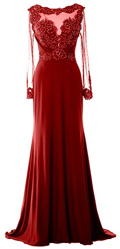 Brides Burgunderrot of Mother Long Sleeve Dress Evening Formal MACloth Women Gown Beaded Lace 0aBwRFqU
