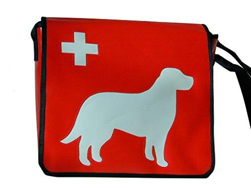 Umhängetasche Hundemotiv Sennenhund Weiss H 32, B 36, T 11 cm