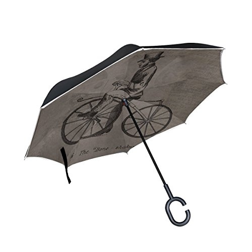 DNOVING Double Layer Inverted Vintage Steampunk Bicycle Patent Grunge Umbrellas Reverse Folding Umbrella Windproof Uv Protection Big Straight Umbrella For Car Rain Outdoor With C-shaped Handle