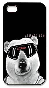 IMARTCASE iPhone 4S Case, Funny Bear Always Cool PC Black Hard Case Cover for Apple iPhone 4S/5
